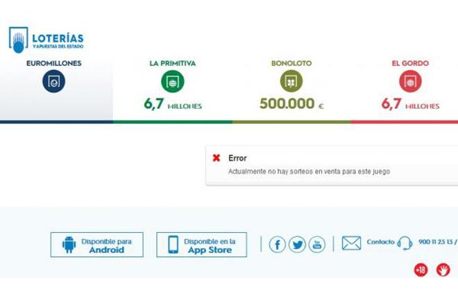 Enfado de los apostantes de Euromillones por problemas en la web el día que se reparte el bote máximo
