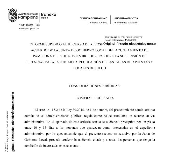 Éste es el informe jurídico del Ayuntamiento de Pamplona que lo capacita para suspender las licencias de las casas de apuestas y los locales de juego
