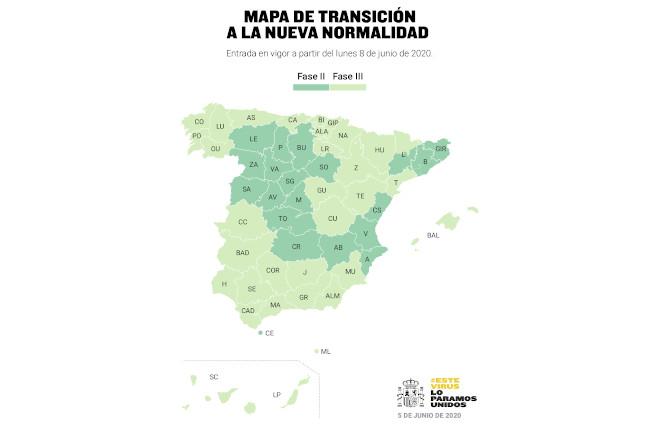 Mapa de territorios que pasan a la Fase 3