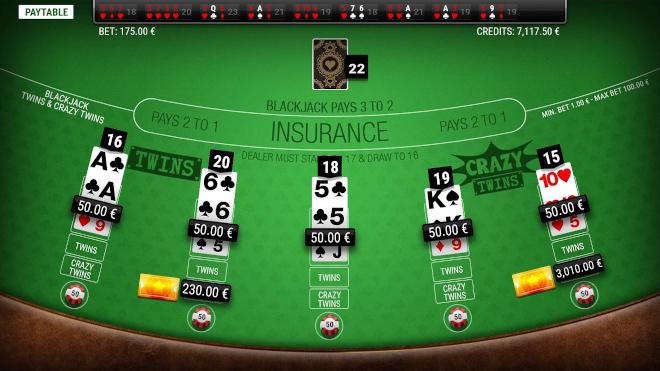 Gaming1 lanza Blackjack Twins y Crazy Twins