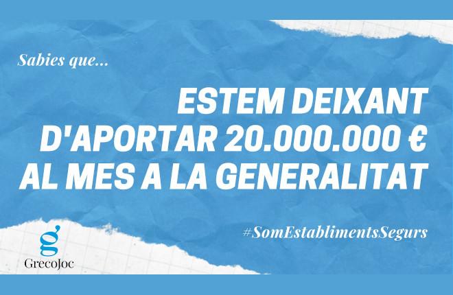 """Mensaje de GRECOJOCa la Generalitat: """"El sector del juego aporta 20 millones de euros al mes y desde el 14 de octubre esta contribución está paralizada"""""""