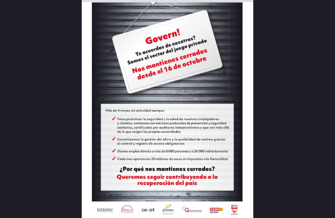 Patrojoc, sindicatos y asociaciones empresariales piden la reapertura inmediata del sector del juego en Cataluña